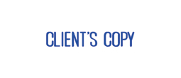 """Client's Copy"" One-Color Pre-Inked Rubber Stamp for use in home or office settings. Volume discounts available with fast turnaround times!"