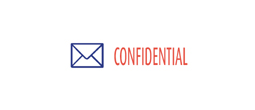 """Confidential"" two-color pre-inked rubber title stamp for use in home or office settings. Volume discounts available with fast turnaround times!"